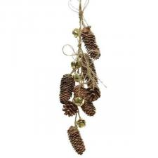 Natural Pinecone Hanger With Gold Jingle Bells - 66cm