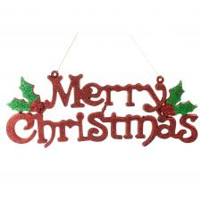 Red Glitter Merry Christmas & Holly Sign - 38cm