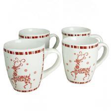 Snowflake Reindeer Mugs - 4 Set