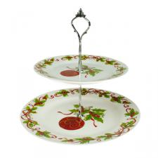 Holly Bauble Two Tier Cake Stand