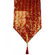 Red, Green & Gold Opulent Table Runner with Tassels - 30cm x 182cm