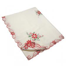 Ivory Holly & Flower Christmas Tablecloth - 137cm X 228cm (54