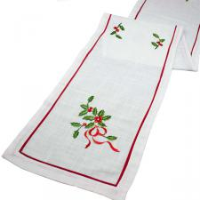 Holly Embroided Design Table Runner - 33cm X 180cm (13