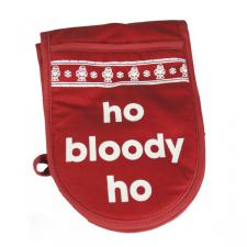 Santa Balls Red & White Double Oven Mitt - Ho Bloody Ho