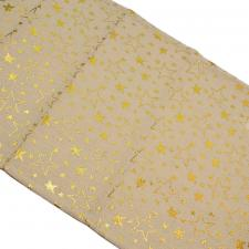 Natural Table Runner With Metallic Gold Star Design - 32cm X 150cm