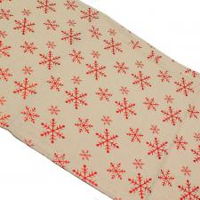 Natural Table Runner With Metallic Red Snowflake Design - 32cm X 150cm