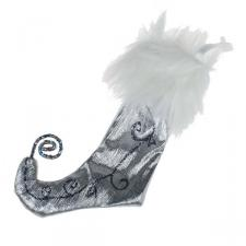 Silver & White Fabric & Glitter Stocking - 12cm x 20cm
