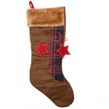 Brown & Tartan Stocking With Fur Trim