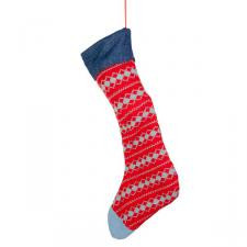 Red Knitted Stocking with Denim Cuff - 47cm