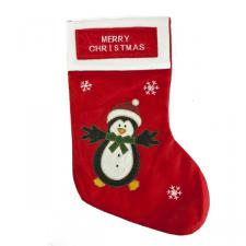 Red Penguin Character Stocking With Snowflakes - 49cm