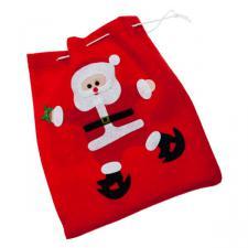 Skating Santa Gift Sack - 26cm x 23cm