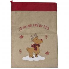 Reindeer Cute Character Jute Santa Sack - 70cm X 50cm