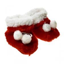Pair Of Red And White Fabric Baby Christmas Bootees