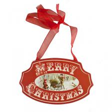 Red Merry Christmas Sign With Christmas Scene - 15cm