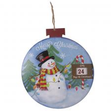 Wooden Snowman Countdown To Christmas Round Plaque - 32cm