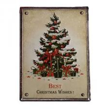 Cream ''Best Christmas Wishes'' Metal Wall Sign - 30cm X 40cm