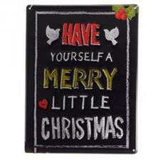 Black ''Have Yourself A Merry Little Christmas'' Metal Wall Sign - 30cm X 40cm