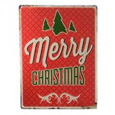 Red ''Merry Christmas'' Metal Wall Sign - 30cm X 40cm