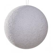 White & Silver Snowball Hanger - 14cm