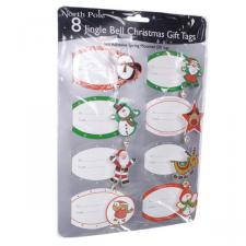 Pack Of 8 Jingle Bell Gift Tags