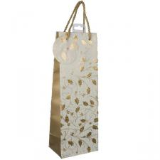 Cream & Gold Holly Design Holographic Foil Bottle Bag