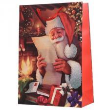 Santa Reading A Letter Design Character Gift Bag - 10cm x 26cm x 32cm