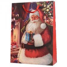 Santa With A Present Design Character Gift Bag - 10cm x 26cm x 32cm