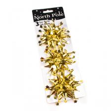 Gold Star Burst Bows x 3