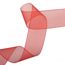 Red Organza Woven Edge Ribbon - 25m x 25mm