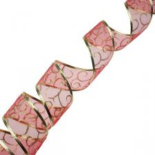 Red With Gold Swirls Design Wire Edged Sheer Ribbon - 6cm X 2.7m
