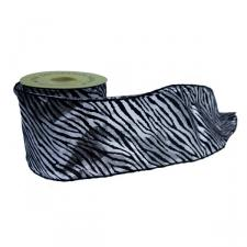 Silver & Black Tiger Print Ribbon - 10cm x 9m