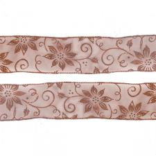 Roll Of Copper Poinsettia Christmas Ribbon - 6cm X 2.7m