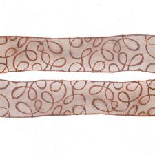 Roll Of Copper Swirl Christmas Ribbon - 6cm X 2.7m