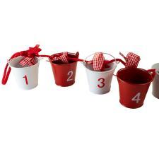Novelty Metal Bucket Advent Calendar On Red Gingham Ribbon