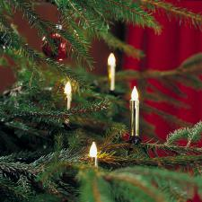Konstsmide 6m Length Of 20 White Frosted Indoor Static Gold Coloured Candle Fairy Lights Green Cable