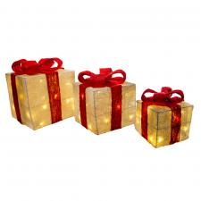 Trio Of White & Red Indoor Lit Parcels With 40 Warm White LED's