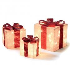 Trio Of Gold & Red Indoor Lit Parcels With 40 White LED's