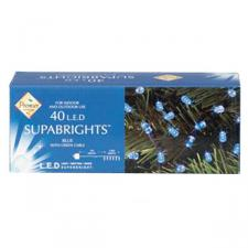 4m Length of 40 Blue LED Static Supabright Fairy Lights, Green Cable