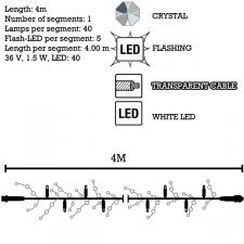 MK 4m Length Of 40 White Indoor And Outdoor Flashing System 80 Connectable LED Clear Crystal Fairy Lights Clear Cable