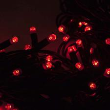 Festilight 10m Length Of 100 Indoor & Outdoor Red Connectable Animatable LED String Lights On Black Rubber Cable