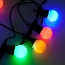 9.5m Length Of 20 Outdoor Multiaction Large Bulb Multicoloured LED Party Lights Black Cable