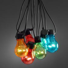 Konstsmide 10 Large Bulb Multi Coloured Static LED Party Lights Black Cable