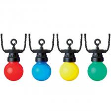 Indoor & Outdoor 16 Large Bulbed Multi Coloured Connectable Party Lights On Black Cable