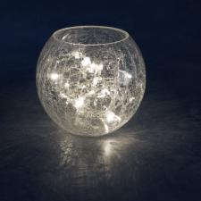 Konstsmide Indoor 24cm Crackle Glass Vase With 32 Warm White Static LED Fairy Lights