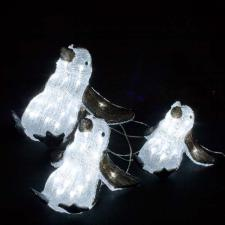 Noma Low Voltage Indoor & Outdoor Set Of Three Reclining Penguin Figures With 200 Static White LEDs
