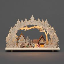 Konstsmide Wooden 10 Warm White LED Illuminated Village Silhouette Scene.