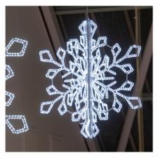 Idolight 230v LED MAJESTY 3D Snowflake - 170cm X 170cm X 185cm - White LED - White Cable - Flashing