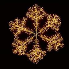 Gold With Warm White LED Starburst Snowflake Silhouette - 150cm