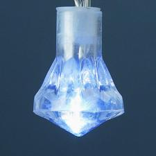 1.9m Length of 20 White Battery Operated LED Diamond Lights Transparent Cable