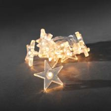 Konstsmide 1.35m Length Of 10 Warm White Indoor Static Battery Operated LED Clear Star Fairy Lights Transparent Cable